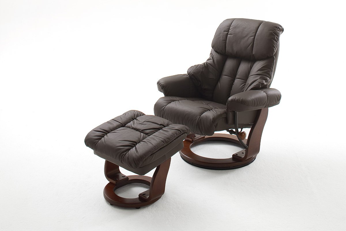 Relaxsessel günstig  Fernsehsessel, Relaxsessel, TV-Sessel braun, Leder + Holz, mit ...