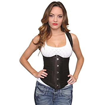 2a9a19c4ae Image Unavailable. Image not available for. Color  Halter Underbust Corset W  steel Busks Front Closure Black Sm
