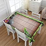 MartinDecor Meditation Printed Tablecloth Spa Frame with Spiritual Stones Bamboo Stems Orchid Petals Yoga Zen Philosophy Flannel Tablecloth Multicolor 60''x104''