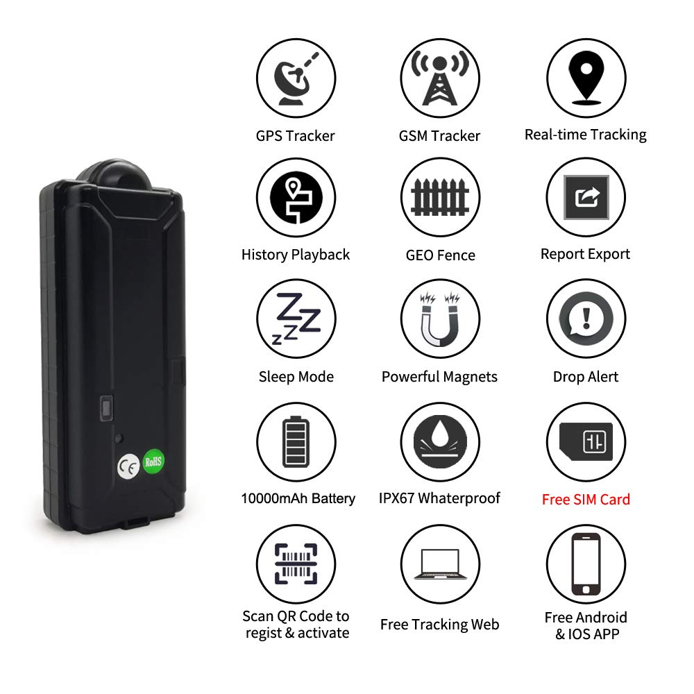 KingNeed TK10GSE GPS Tracker No Monthly Fees Free Contract 3G Magnetic GPS GSM Tracker Car Real Time Tracking Device with Long Battery Life Waterproof Design for All Vehicle