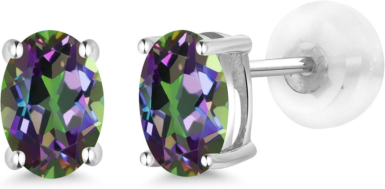 2 Ct Mystic Topaz /& Diamond Oval Stud Earrings 14Kt White Gold