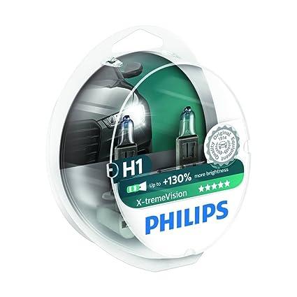 Philips 12258XVS2 X-treme Vision - Bombilla H1 +100% para faros delanteros (2 unidades) El producto con un rendimiento de + 130 % (2 bombillas)]