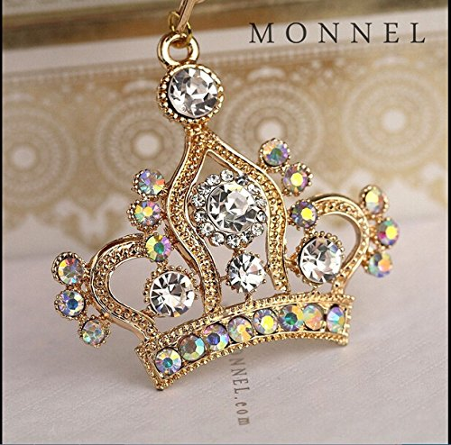 New Arrival Adorable Gold Queen Crown Crystal Big Key Ring Keychain Z642-B (Enamel Crown Charm)