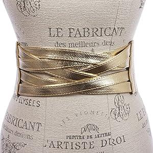 4″ Women's High Waist Non Leather Fashion Wide Braided Stretch Belt