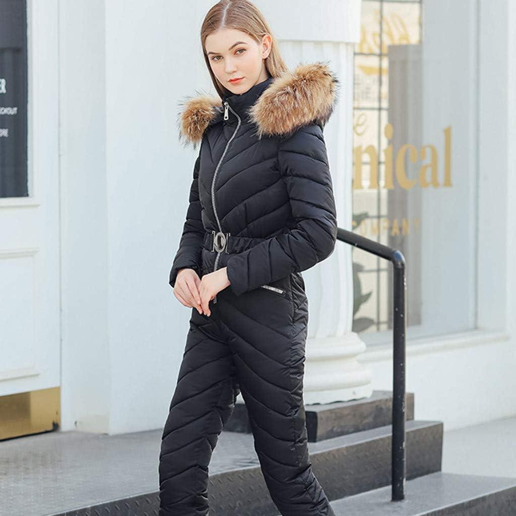 Combinaison Pantalon De Ski Femme Chaude Matelass/ée Doux Ski Suit Capuche Fourrure en Plein Air Sport Slim Fit Combinaisons V/êtements dhiver