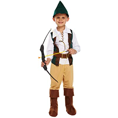Boys 4 Piece Robin Hood Hero Medieval Book Day Week Fancy Dress Costume Outfit 4-12 Years: Clothing