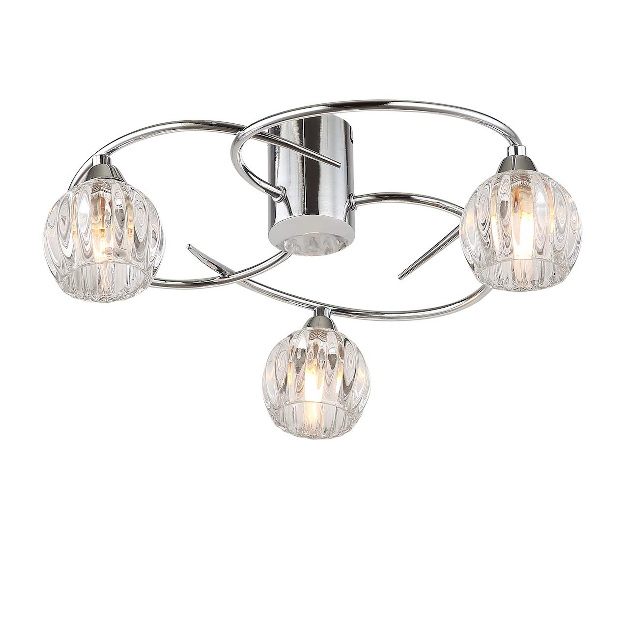 AUROLITE BOLLA Modern Semi Flush Ceiling, Polished Chrome, Globe Shaped Glass Shade, Free LED G9 Bulbs Included, 20W (5 Lights, Warm White 3000K) AL1037
