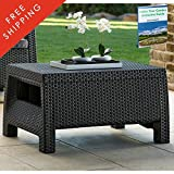 Plastic Wicker Coffee Table Clearance All Weather Resin Deck Dark Gray Modern Natural Rattan Furniture Contemporary Poolside Bistro Garden Outside Backyard Dining Living Room And eBook By NAKSHOP