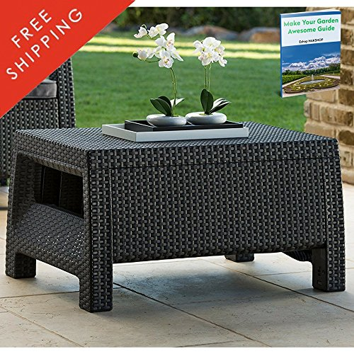 Cheap Plastic Wicker Coffee Table Clearance All Weather Resin Deck Dark Gray Modern Natural Rattan Furniture Contemporary Poolside Bistro Garden Outside Backyard Dining Living Room And eBook By NAKSHOP