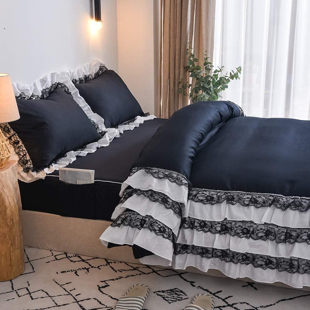 FADFAY Black Bedding Ruffle Comforter Cover Premium 100% Cotton Chic Designer Pocket Fitted Sheet Set 4 Piece Zipper Lace Ruffle Duvet Cover Farmhouse Bedding(Black/Twin XL)