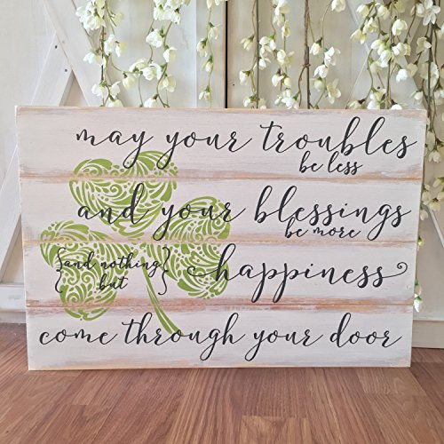 (Irish Blessing Wood Sign Celtic Shamrock Decor Rustic Wooden Sign Housewarming Gift House Blessing Sign Closing Gift)