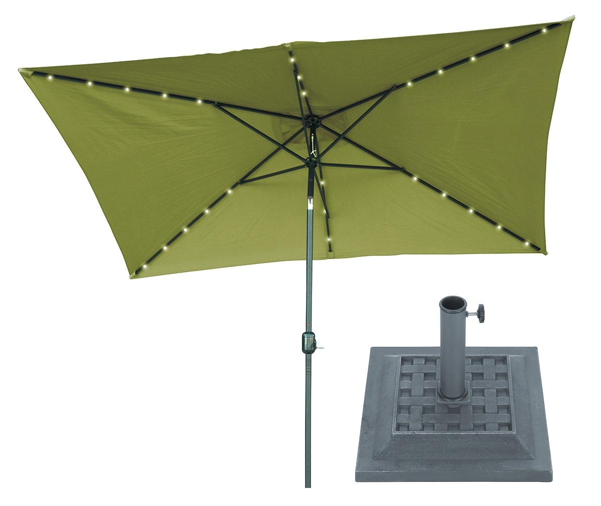 10' x 6.5' Light Green Rectangular Solar Powered LED Lighted Patio Umbrella with Gray Square Base - By Trademark Innovations