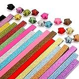 Caydo Glitter Origami Stars Paper Folding Strips - 18 Colors, 360 Sheets