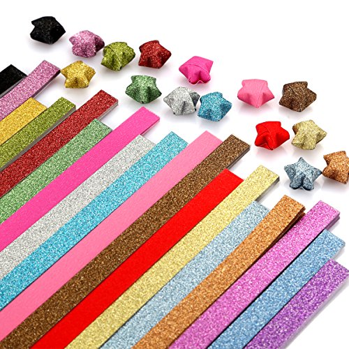 Caydo Glitter Origami Stars Paper Folding Strips - 18 Colors, 360 Sheets