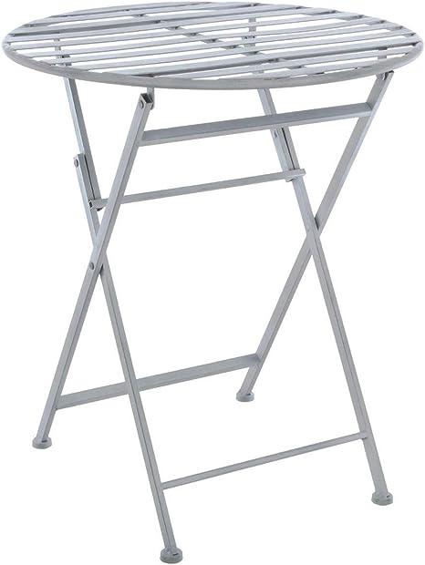 Table de jardin pliante - Style Fer Forgé - Coloris GRIS patiné blanc