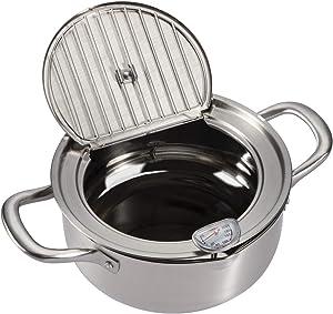 EAMATE 304 Stainless Steel Tempura Fry Pot, 9.5