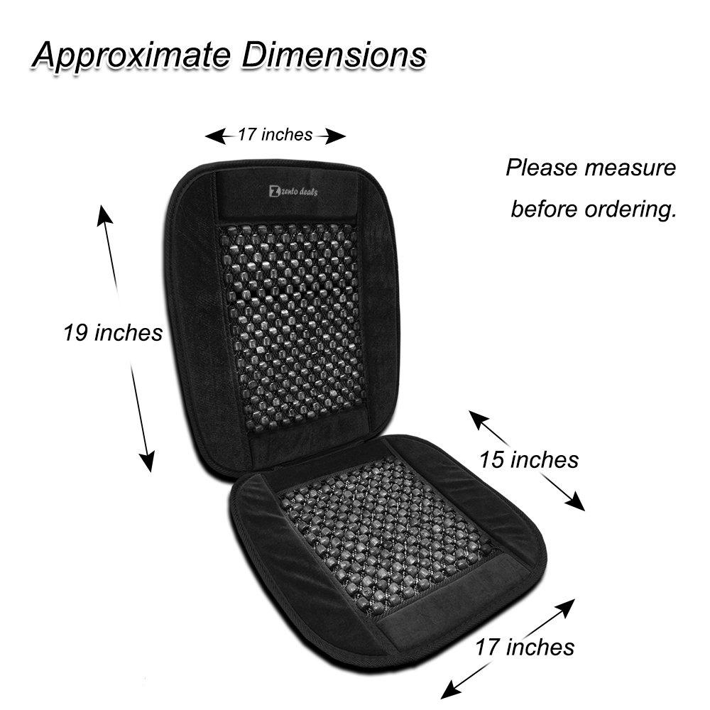 Zento Deals Black Wooden Beaded Plush Velvet Seat Cover Premium Quality Ultra Comfort Massage Cool Car Seat Cushion 35x17