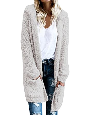 Ofenbuy Women Faux Fur Hoodie Knit Long Sleeve Cardigan Sweaters ...