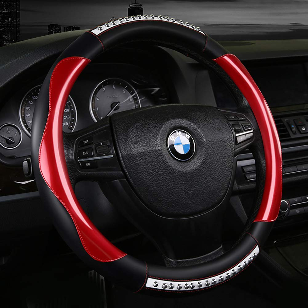Amazon.com: ZJWZ Steering Wheel Cover Fashion Classic Leather Steering Wheel Cover Universal 37-39 cm,Red: Kitchen & Dining
