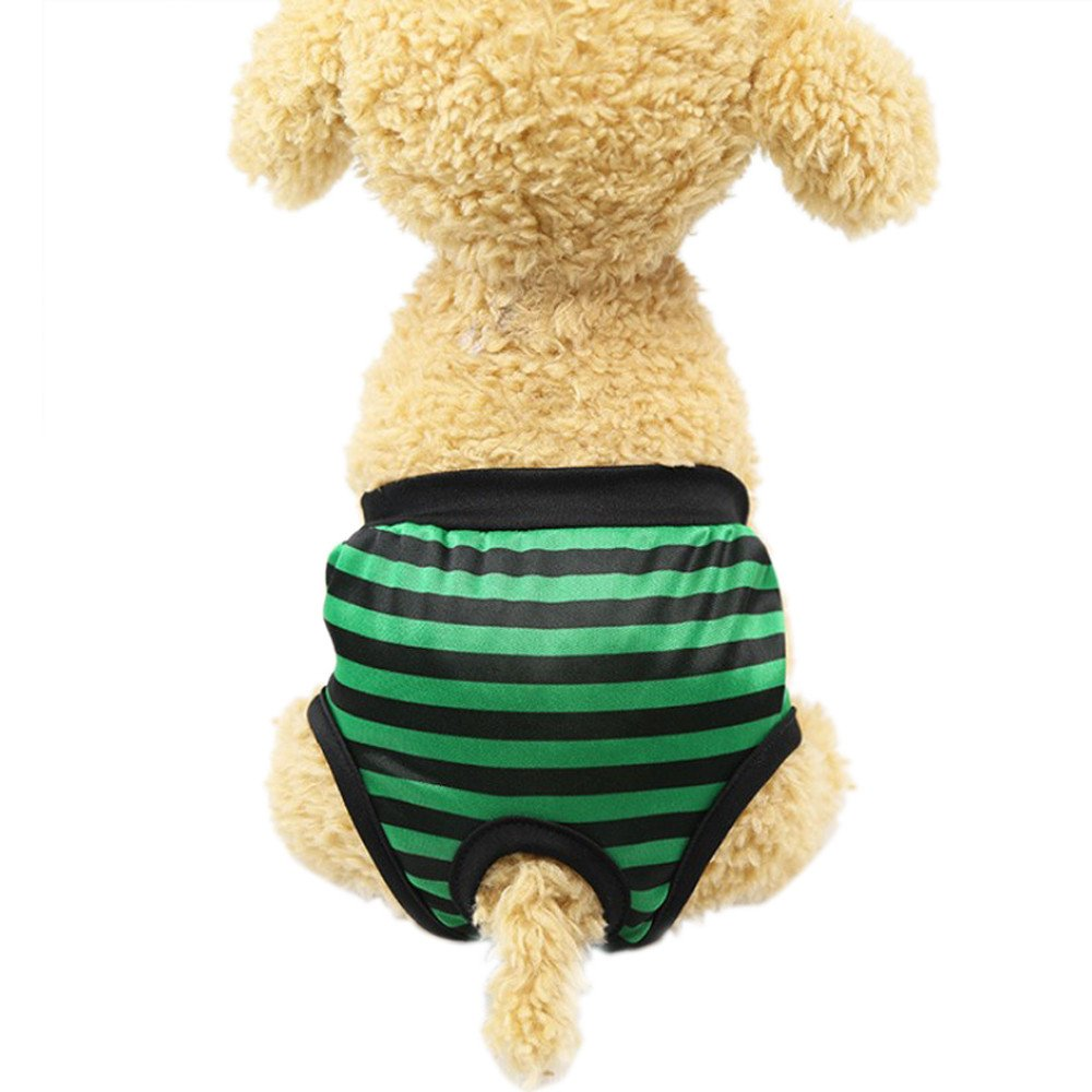 OOEOO Pet Dog Physiological Pants, Striped Breathable Pet Underwear (Green,S)