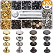 Hotop 120 Set 4 Colors Snap Fasteners Leather Snaps Button Kit Press Studs with 4 Pieces Fixing Tools, 12.5 mm in Diameter
