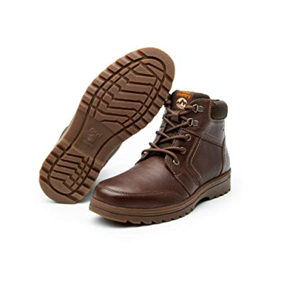 Flexi Mens Brown Leather Combat Boots - for Hiking, Working, Bikers and Snow with Non Slip Thick Deep Rubber Tread   Motorcycle & Combat