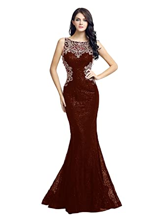 Sara Womens Hbridal Lace Mermaid Prom Dress Long Evening Dresses Party Dress with Sequin SLX171 -
