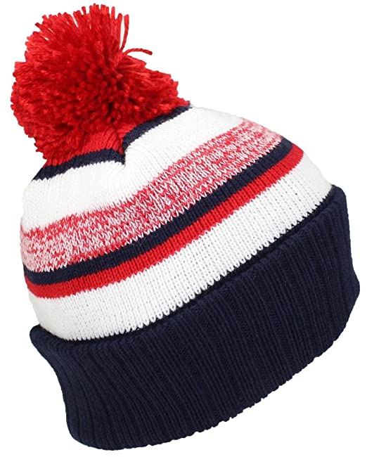 ccd3c7ad07c Best Winter Hats Quality Striped Variegated Cuffed Beanie W Pom (L ...