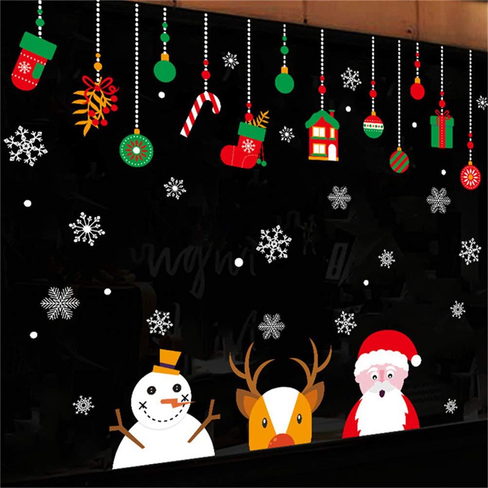 EDOTON Vetrofanie Natale Tema Adesivi Murali Rimovibile Fai da Te Finestra Natale Calze Aereo Cervo Decal Ornamenti 2 Fogli (A)
