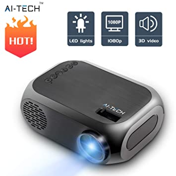 Aitech Mini Proyector Portatil Bombilla De 50000 Horas Video Proyector Portatil 1500 Lumenes Pantalla Lcd Hdmi Usb Compatible Con Smartphone Pc Laptop ...