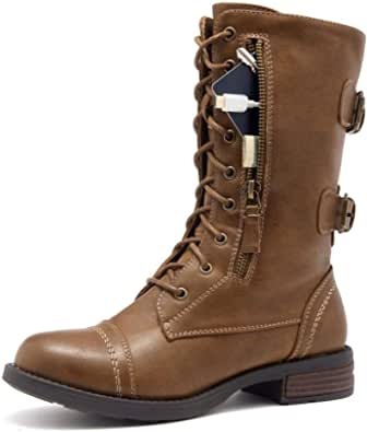 Shoe Land Kasey Women's Ankle Lace Up Military Combat Booties Mid Calf Credit Card Money Wallet Pocket Boots