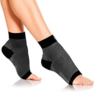 Ezonedeal Foot Angel Compression Socks Foot Sleeve Plantar Arthritis Sore Achy Heel Pain Anti Fatigue Socks for Ankle Swelling Plantar (L/XL)