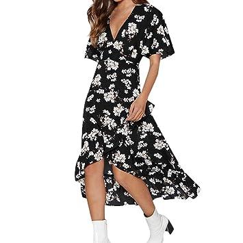2bbddda69272 Seamount Womens Summer Rap Maxi Dress Short Sleeve V-Neck Floral Print  Ruffle Flowy Front