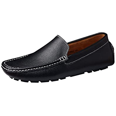 rismart Mens Soft Faux Leather Driving Loafer Shoes Comfortable Moccasins Slippers Boat Shoes Black SN9100 US7