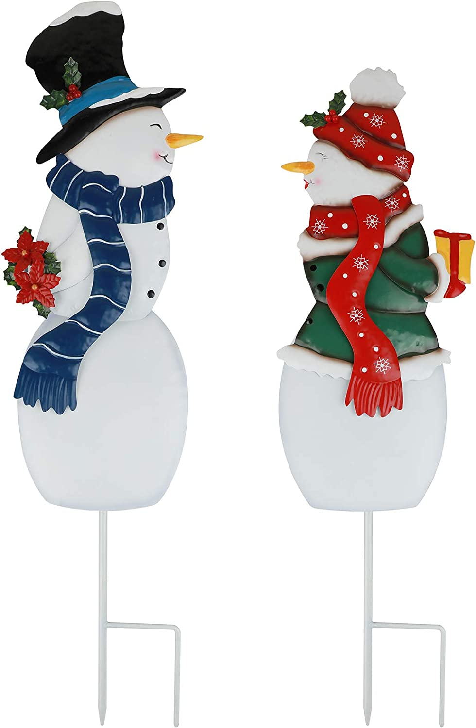 3D Metal Christmas Garden Stakes Set, Boy and Girl Snowman Stake for Outdoor Garden Yard Decorations