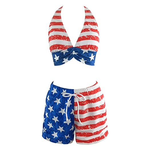 82f873ed62f7c Elatany Women's Plus Size Patriotic American National Flag Pattern Two  Piece High Waist Swimsuit Bikini Set