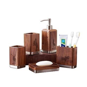 PLYY Madera de la vendimia Set de baño Continental de cinco piezas Conjunto de accesorios de ...