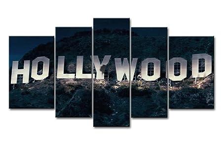 5 piezas Decorativo pintura cartel de Hollywood en montaña ...