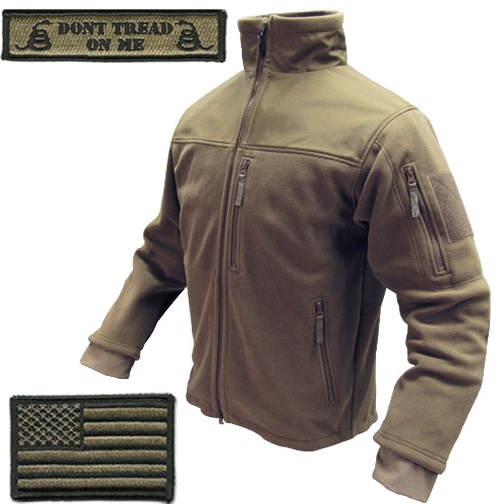 Condor Tac-Jacket (Coyote-XL) & USA Flag & Dont Tread Patch - 3 Item-Bundle by Gadsden and Culpeper