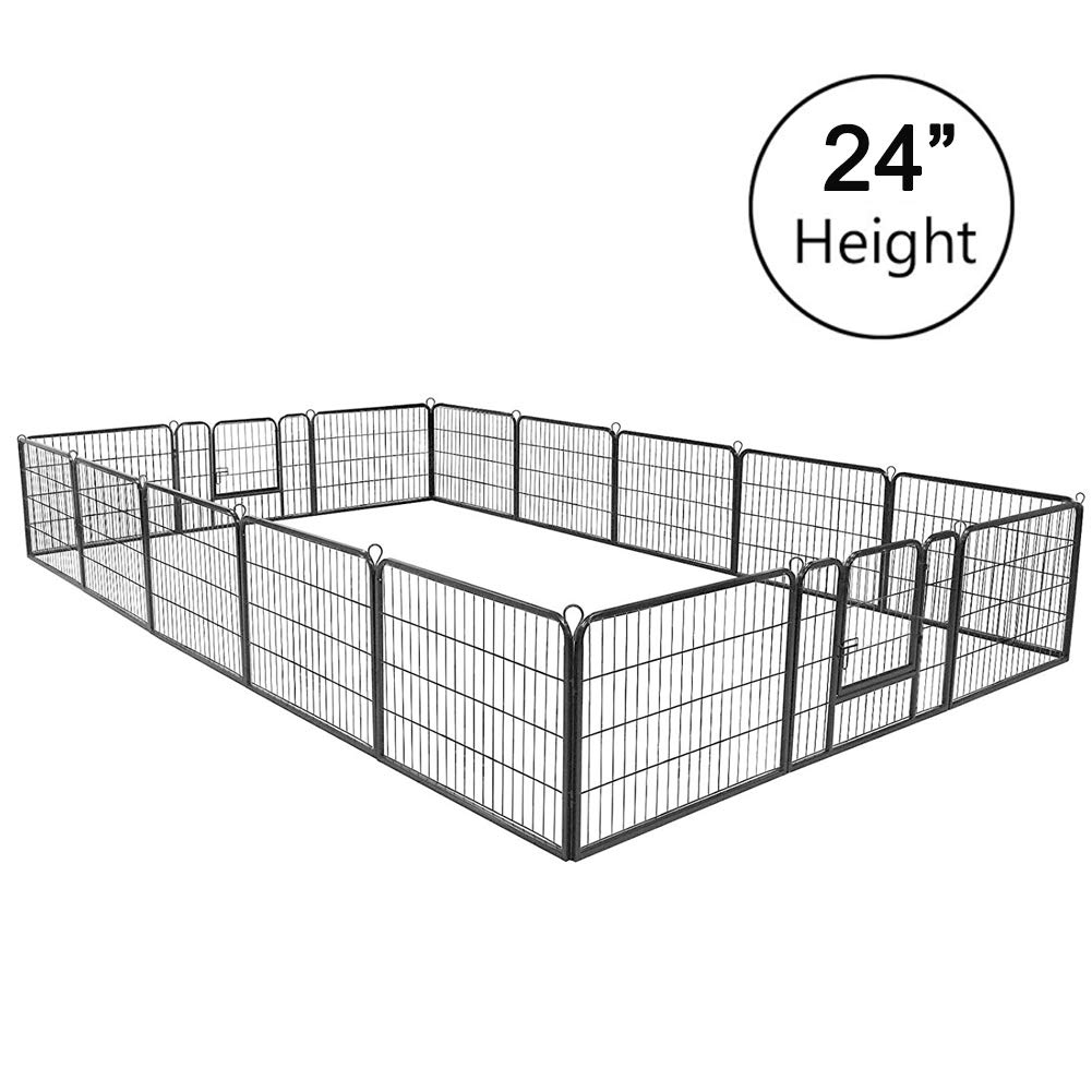 Pataku Heavy Duty Pet Dog Playpen Puppy Cat Exercise Fence Barrier Metal Playpen Kennel,16 Panels 24 inches Height by Pataku