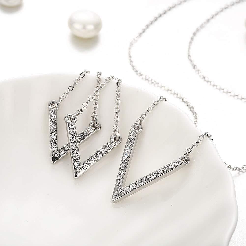 Junson Drop Earrings Creative Jewelry Europe and America Exaggerated V-Shaped Diamond Long Earrings Minimalist White Gold Earrings Size : Erding+Necklace Shining Earrings Size : Erding+Necklace