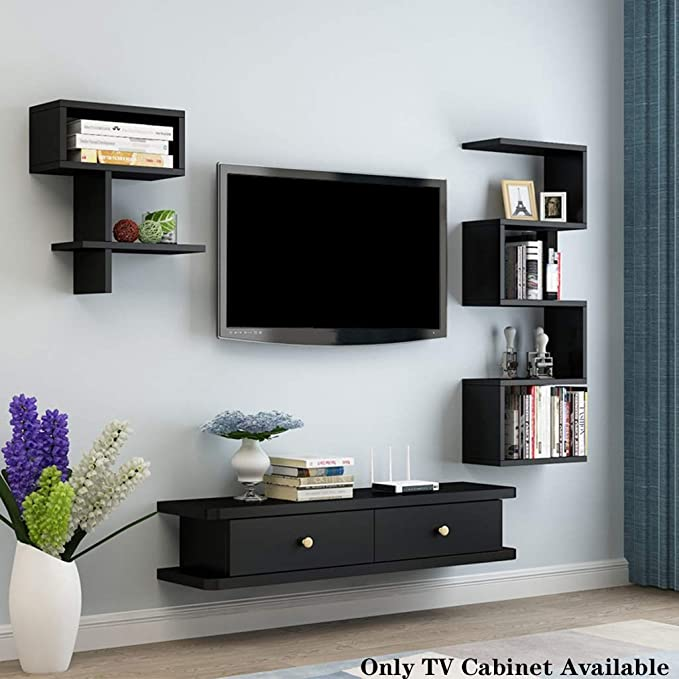 Wall Mounted Tv Console,Modern Floating Tv Shelf Wall Hanging Storage Shelf Household Media Console for Cable Box Set-top Box White 60x20x2.5cm 24x8x1inch