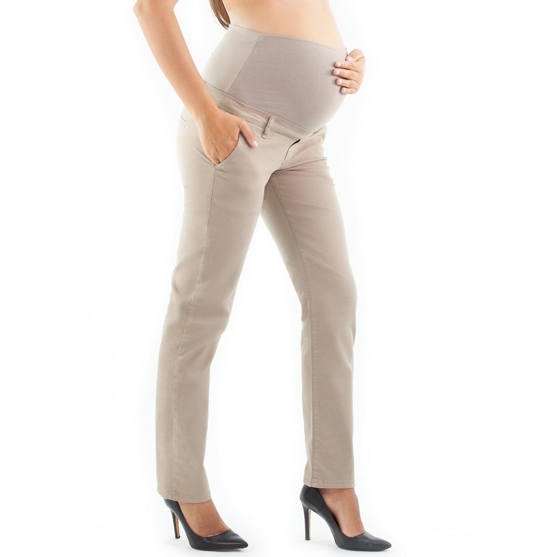 Viareggio Maternity Chino Pants, Casual Maternity Style - Made in Italy (S, Khaki) by MAMAJEANS