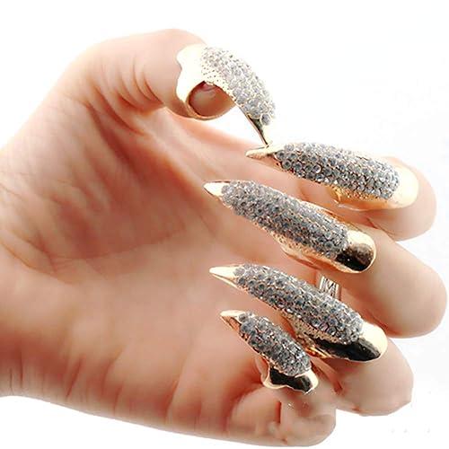 Nicedeal 5 piezas/set de uñas postizas estilo punk de cristal transparente nudillo doblado Fingertip