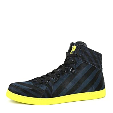 937c32f0f0a Gucci Men s Multi Color Calf Hair Leather High top Limited Sneakers 357172  4180 (7.5 G