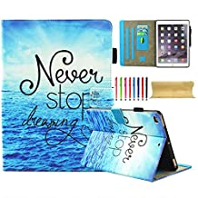 UUcovers New iPad 9.7 Inch 2017/ iPad Air/ iPad Air 2 Case, Slim Stand Folio Magnetic Wallet Cover Synthetic Leather [TPU] Shockproof Case with Card Slots for iPad 9.7 2017/iPad Air 1 2, Never Stop