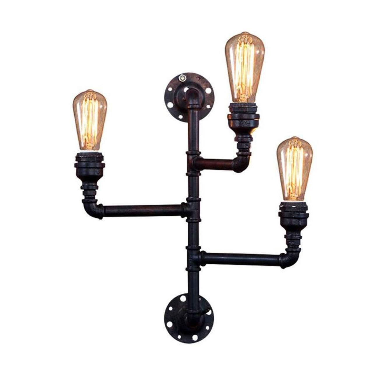 レトロな産業風パイプ壁の燭台ランプアメリカの創造的人格ノスタルジックな鉄のロフトカフェバーカフェ装飾ランプライトE27   B07T67TP6M
