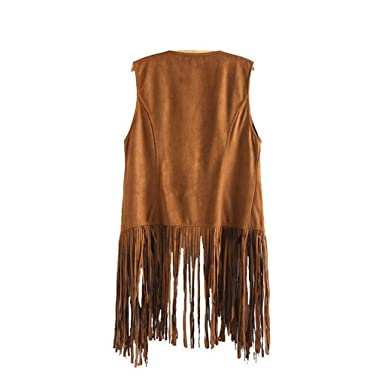 c7bf2bb3ef356 Tongshi Abrigo Las mujeres otoño invierno gamuza sintética sin mangas de  las borlas con flecos étnico Chaleco Cardigan  Amazon.es  Ropa y accesorios