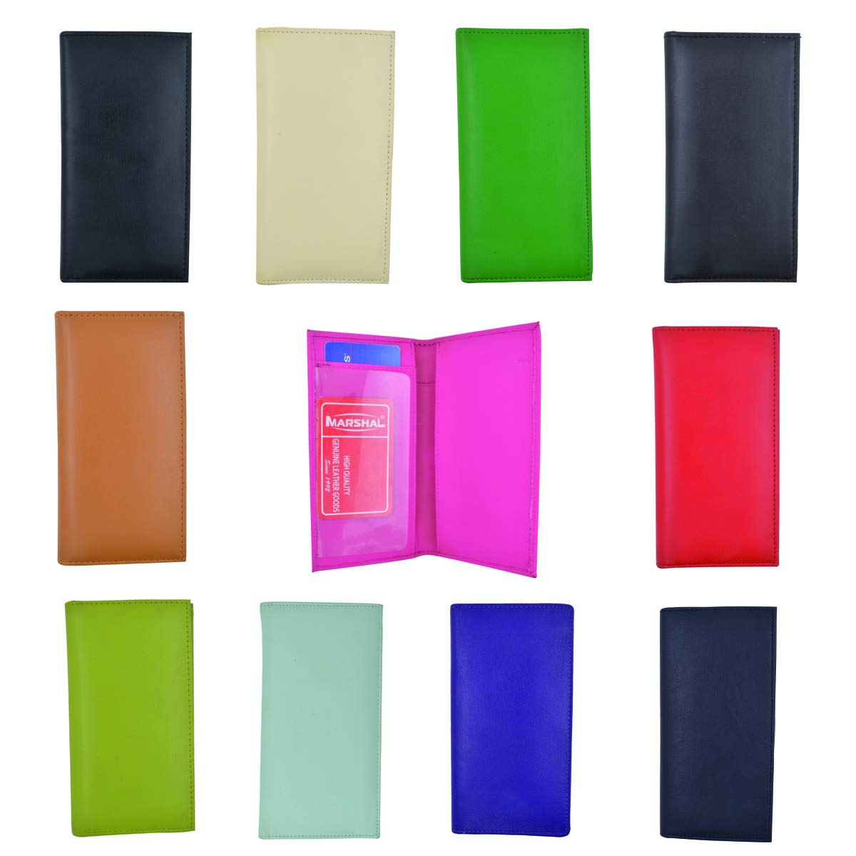 Wholesale Lots of Basic PU Leather Checkbook Covers ASSORTED COLORS by Marshal (24pcs) by Marshal