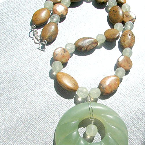 Picture Jasper and Apple Quartz Necklace with Jade - Apple Jade Pendant Green
